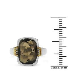 Malaika Sterling Silver Smoky Quartz Two-Tone Ring