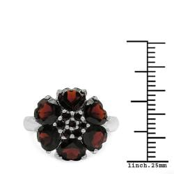 Malaika Sterling Silver Genuine Garnet Hearts Ring - Thumbnail 2