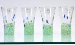 Mouth-blown Monet Green 13-oz Highball Glasses (Set of 4)