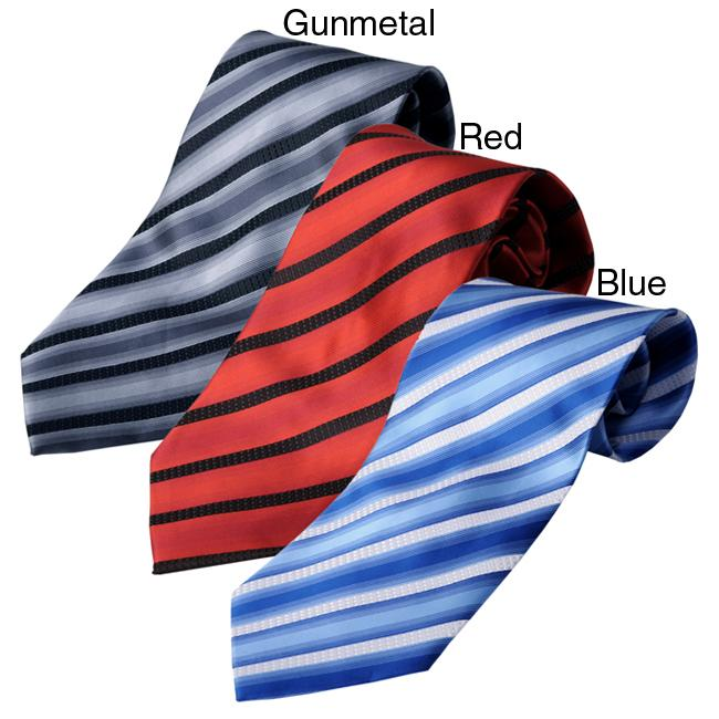 Boston Traveler Men's Striped Pattern Tie Hanky Set