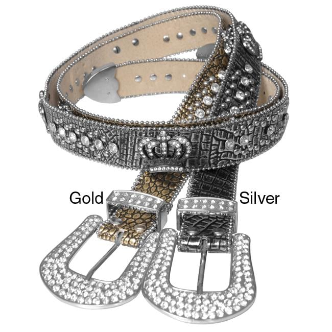 Journee Collection Women's Rhinestone and Crown Accent Belt