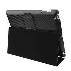 Carbon Fiber Stripe Leather Case/ Holster and Stand for Apple iPad 2 - Thumbnail 1