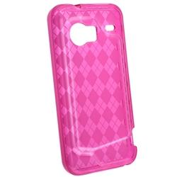 Clear/ Hot Pink Argyle TPU Rubber Case for HTC Droid Incredible - Thumbnail 1