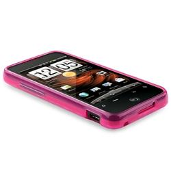 Clear/ Hot Pink Argyle TPU Rubber Case for HTC Droid Incredible - Thumbnail 2