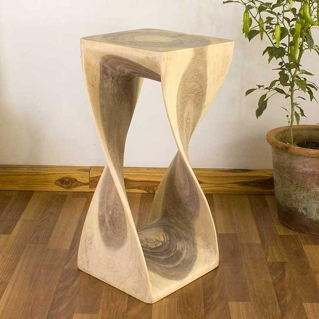 12 Inch Accent Table Of Handmade 12 Inches Square X 26 Inch Monkey Pod Wood