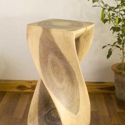 12 Inches Square x 26-inch Monkey Pod Wood Twist White Oil End Table (Thailand)