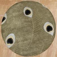 Alliyah Handmade Sage Green Peacock Wool Rug (6' Round) - 6'