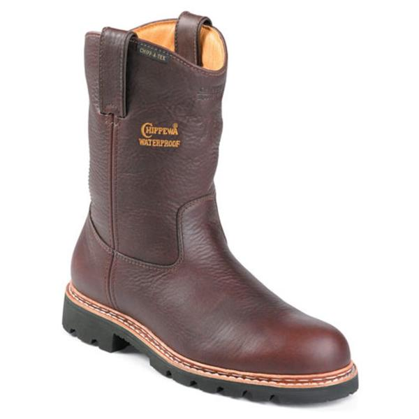 "Chippewa Men's 'W 10"" Waterproof Pull On' Leather Boots (Size 10) Wide"