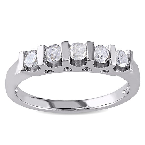 Miadora Sterling Silver 1/2ct TDW Diamond Anniversary Ring (J-K I3)
