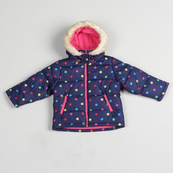Carters Girl's Blue Polka Dot Bubble Jacket