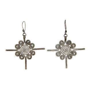 Handmade Large Miao Silver Sun Flower Earrings (China)