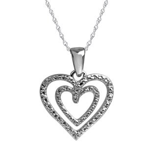 Bridal Symphony Sterling Silver Diamond Accent Double Heart Pendant
