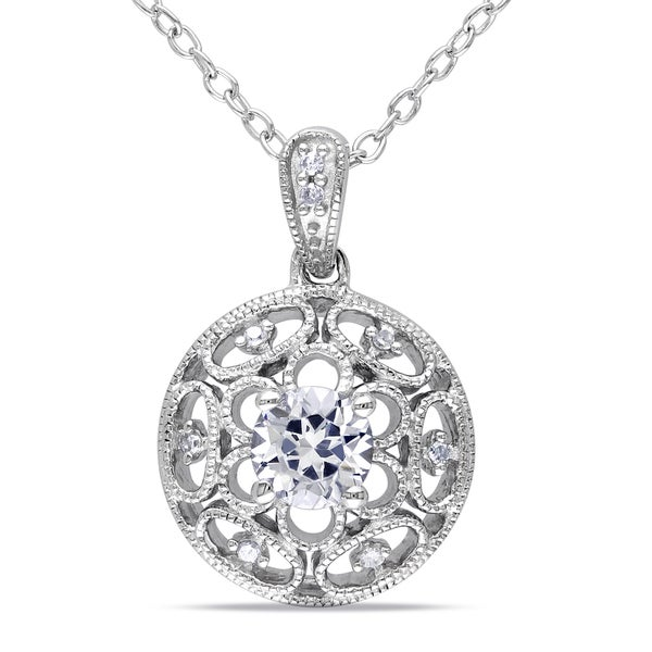 M by Miadora Sterling Silver White Sapphire and Diamond Necklace (G-H, I1-I2)