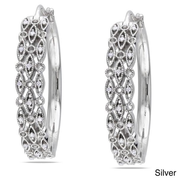 Miadora Sterling Silver 1/8ct TDW Diamond Hoop Earrings