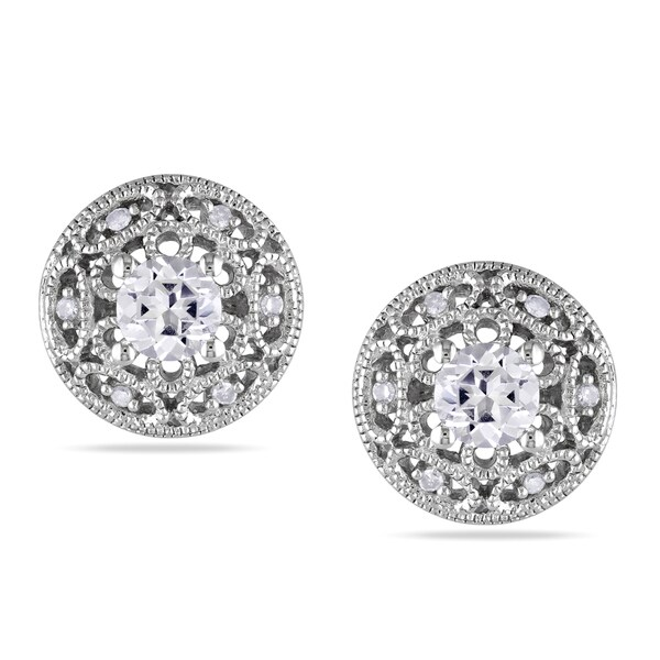 Miadora Sterling Silver Sapphire and Diamond Stud Earrings (G-H, I1-I2)