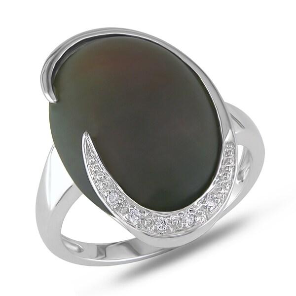 Miadora 10k White Gold Smokey Quartz and Diamond Accent Ring