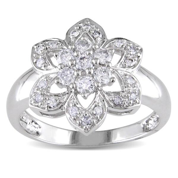 Miadora 14k White Gold 1/2ct TDW Diamond Flower Ring