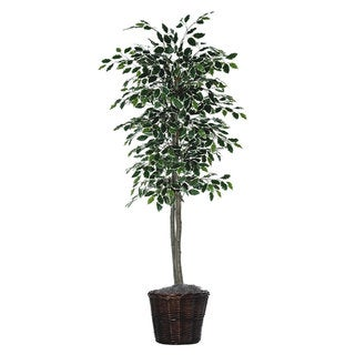6-Foot Silk/ Polyester Variegated Ficus Decorative Plant