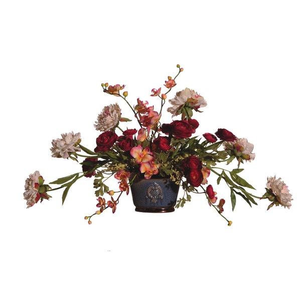 Formal Floral Ceramic Pot Silk Plant