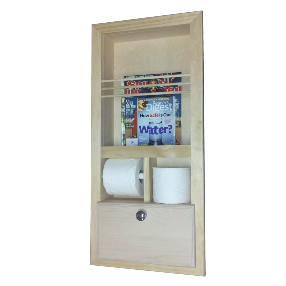 WG Wood Products In the Wall Magazine Rack with Double To...