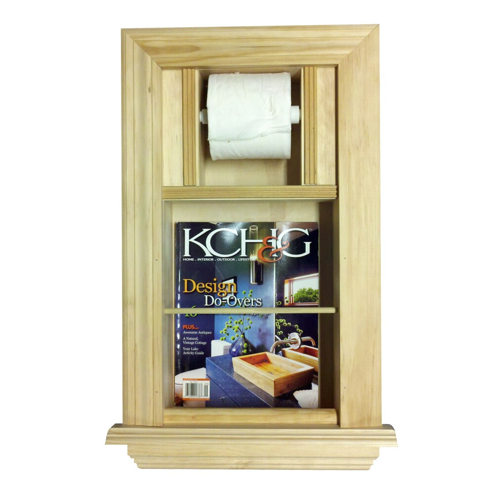 WG Wood Products In the Wall Magazine Rack with Toilet Pa...