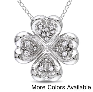 Sterling Silver 1/10ct TDW Diamond Hearts Necklace