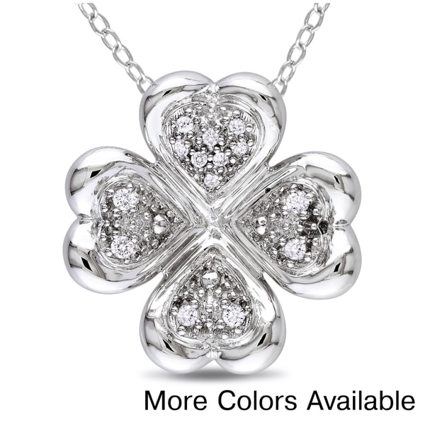 Sterling Silver 1/10ct TDW Diamond Hearts Necklace (H-I, I2-I3)