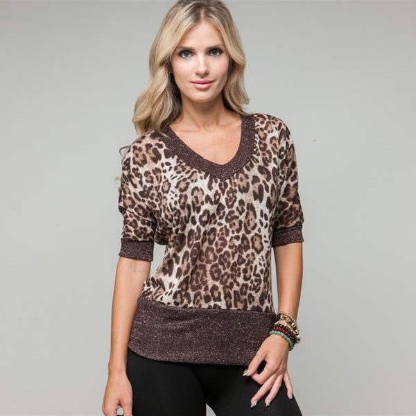 Stanzino Women's Glitzy Brown Cheetah Printed Blouse