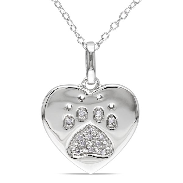 Miadora Sterling Silver Diamond Dog Lover's Necklace