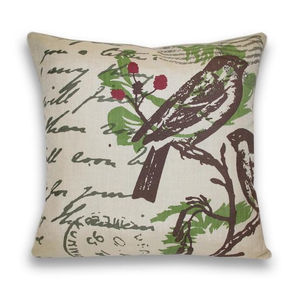Bird Postcard Decorative Pillow (18 x 18)