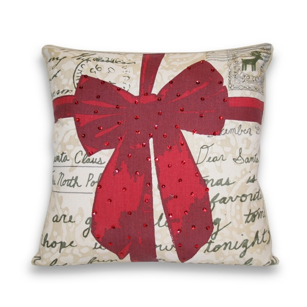 Present Red Ribbon Postcard 18-inch Decorative Pillow