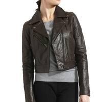 Women's Premium Buffalo Distressed Brown Leather Biker Jacket