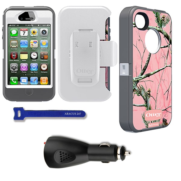OtterBox Defender iPhone Protector Case / Car Charger / Hook and Loop Tie