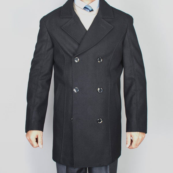 Men's Black Wool Double Breasted Peacoat