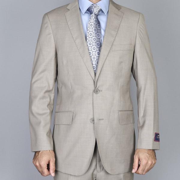 Men's Textured Taupe 2-Button Slim-Fit Suit