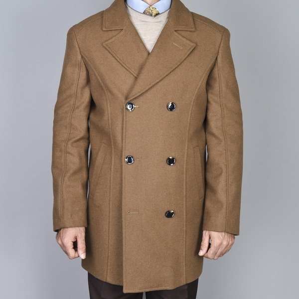 Men's Chesnut Double Breasted Wool Peacoat