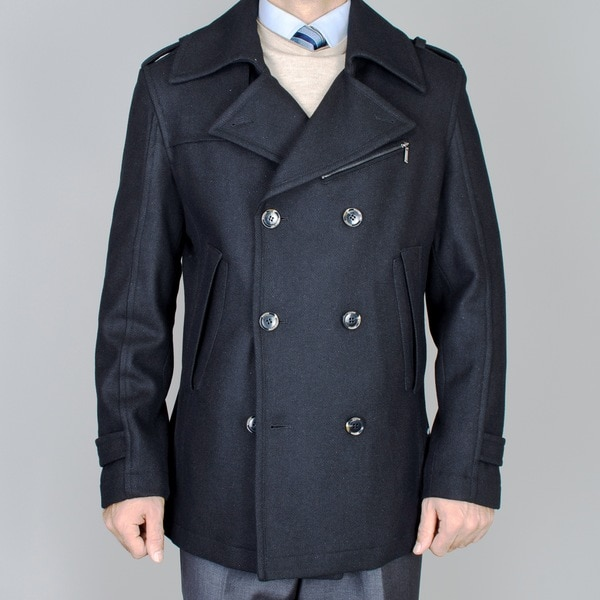 Men's Short Black Wool Double Breasted Peacoat