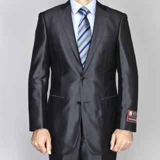 Men's Black Shiny 2-Button Suit