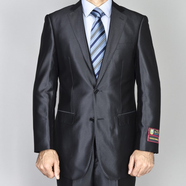 Men's Black Shiny 2-Button Suit
