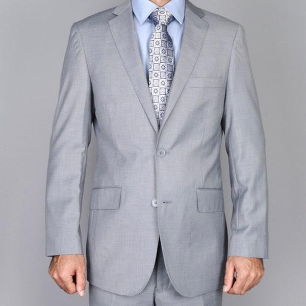 Men's Textured Light Grey 2-button Slim-fit Suit