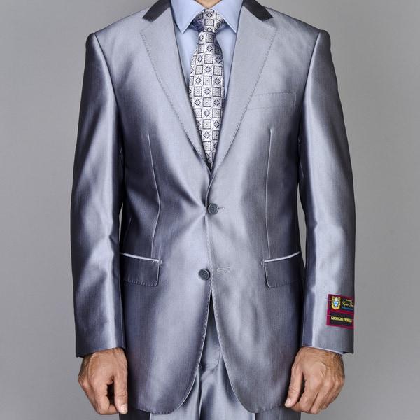 Men's Silver Grey Shiny 2-Button Suit