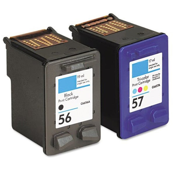 HP 56/ 57 Black/ Color Ink Cartridge (Remanufactured) (Pack of 2)
