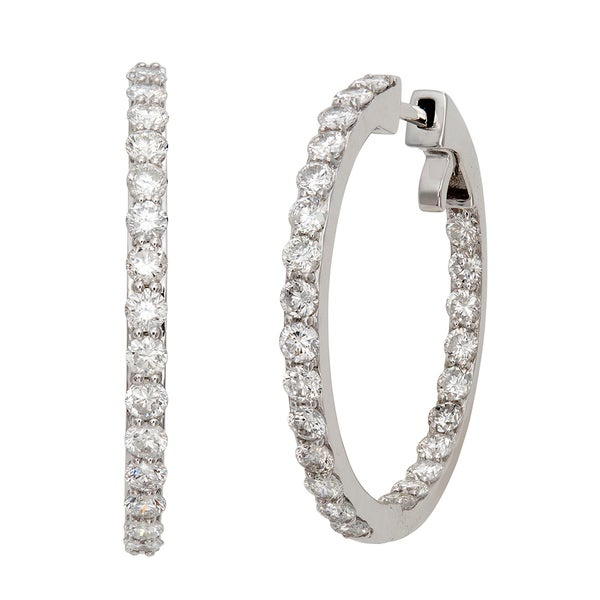 14k White Gold 3 3/8ct TDW Diamond Hoop Earrings (G-H, I2)