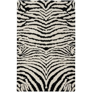 Safavieh Handmade Zebra Ivory/ Black New Zealand Wool Rug (5'x 8')