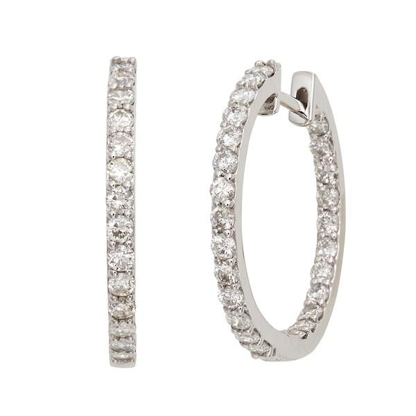 14k White Gold 1 1/10ct TDW Diamond Hoop Earrings (G-H, I2)