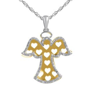 Bridal Symphony Sterling Silver with 10k Yellow Gold Angel Cut-out 1/10CTtw Diamond Accent Pendant (I-J, I2-I3)