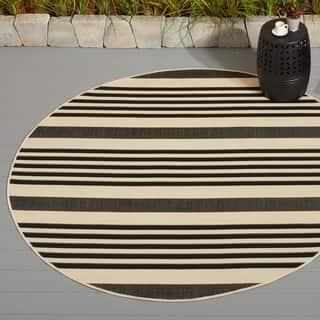 Safavieh Courtyard Stripe Black/ Bone Indoor/ Outdoor Rug|https://ak1.ostkcdn.com/images/products/7401901/P14858199.jpg?impolicy=medium