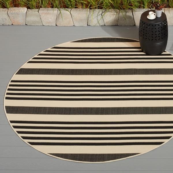 Safavieh Courtyard Stripe Black/ Bone Indoor/ Outdoor Rug