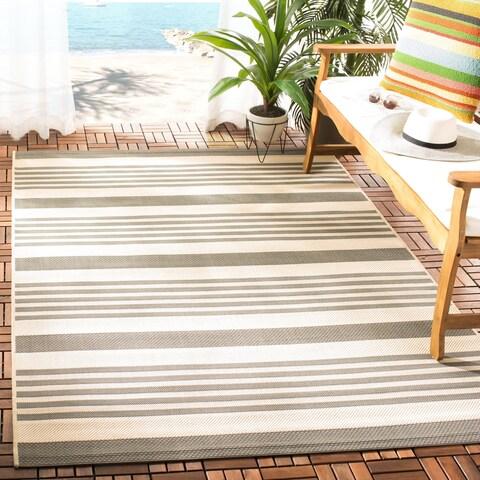 Safavieh Courtyard Stripe Beige/ Blue Indoor/ Outdoor Rug