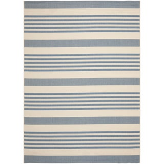 Safavieh Courtyard Stripe Beige/ Blue Indoor/ Outdoor Rug (More options available)